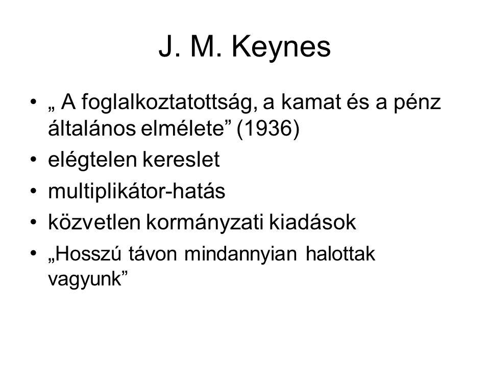"""J. M. Keynes •"""" A foglalkoztatottság, a kamat és a pénz általános elmélete"""" (1936) •elégtelen kereslet •multiplikátor-hatás •közvetlen kormányzati kia"""