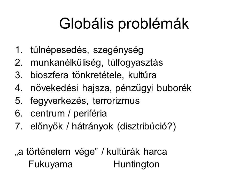 Globális problémák 1.túlnépesedés, szegénység 2.munkanélküliség, túlfogyasztás 3.bioszfera tönkretétele, kultúra 4.növekedési hajsza, pénzügyi buborék