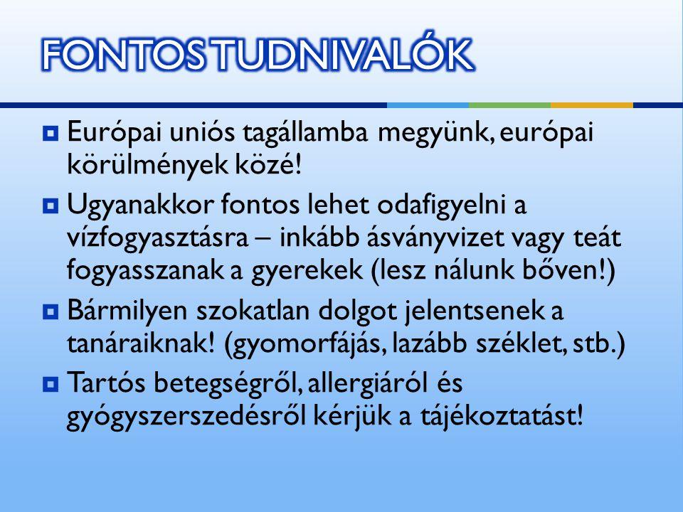  Európai uniós tagállamba megyünk, európai körülmények közé.