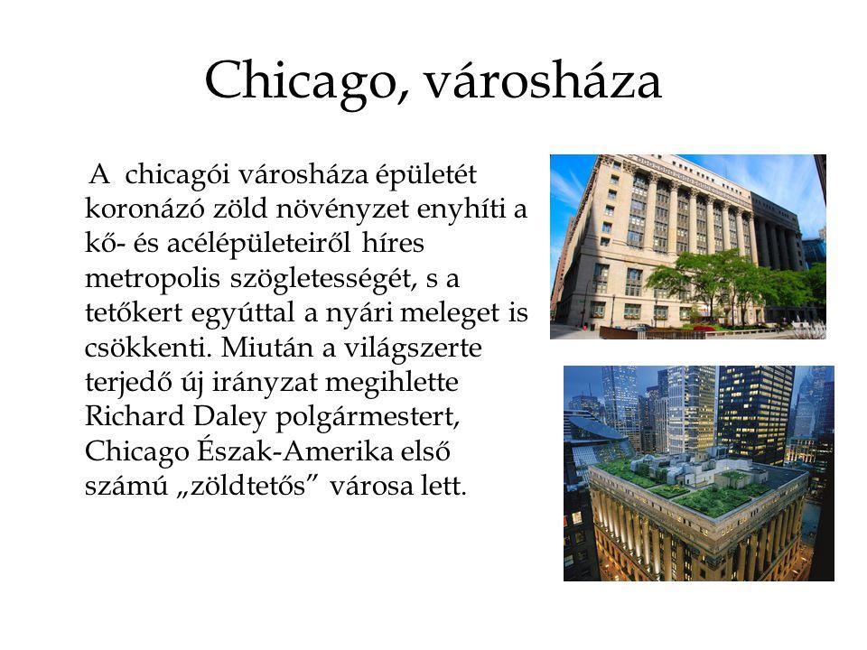 Chicago, városháza A chicagói városháza épületét koronázó zöld növényzet enyhíti a kő- és acélépületeiről híres metropolis szögletességét, s a tetőkert egyúttal a nyári meleget is csökkenti.