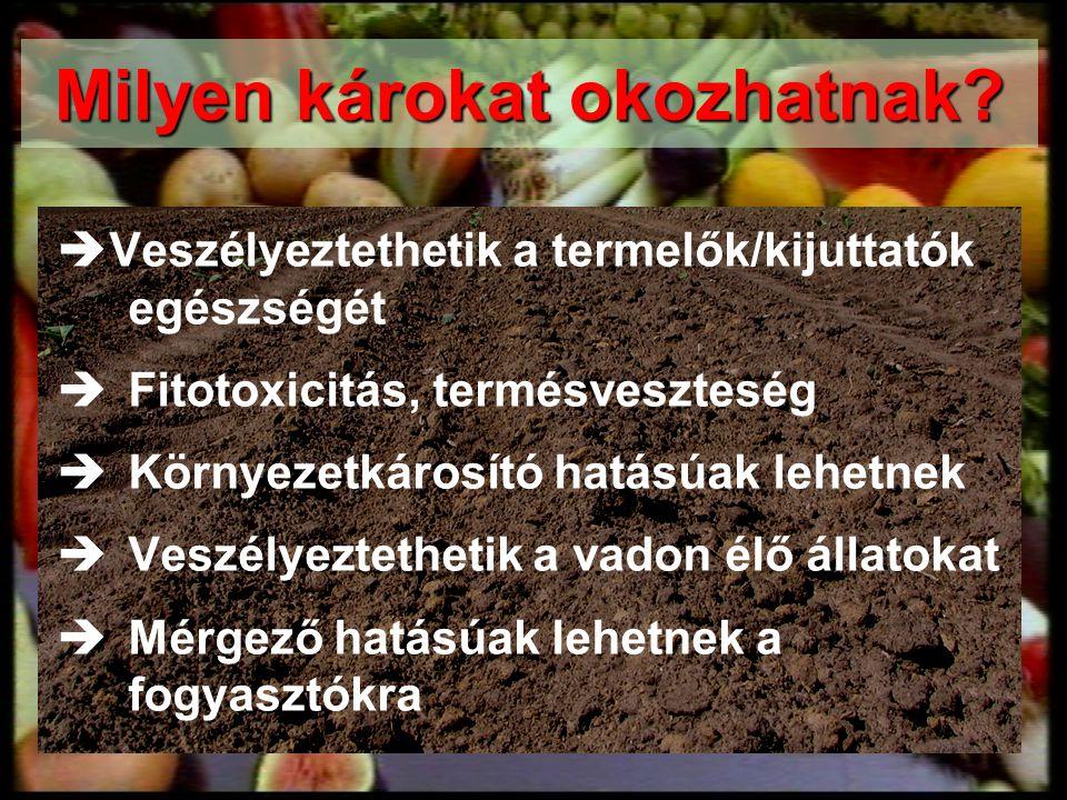  Veszélyeztethetik a termelők/kijuttatók egészségét  Fitotoxicitás, termésveszteség  Környezetkárosító hatásúak lehetnek  Veszélyeztethetik a vado