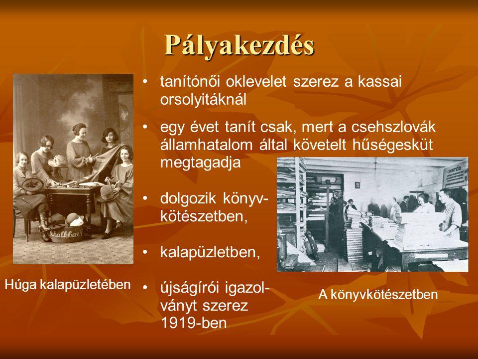 Pályakezdés Húga kalapüzletében • •tanítónői oklevelet szerez a kassai orsolyitáknál • •egy évet tanít csak, mert a csehszlovák államhatalom által köv