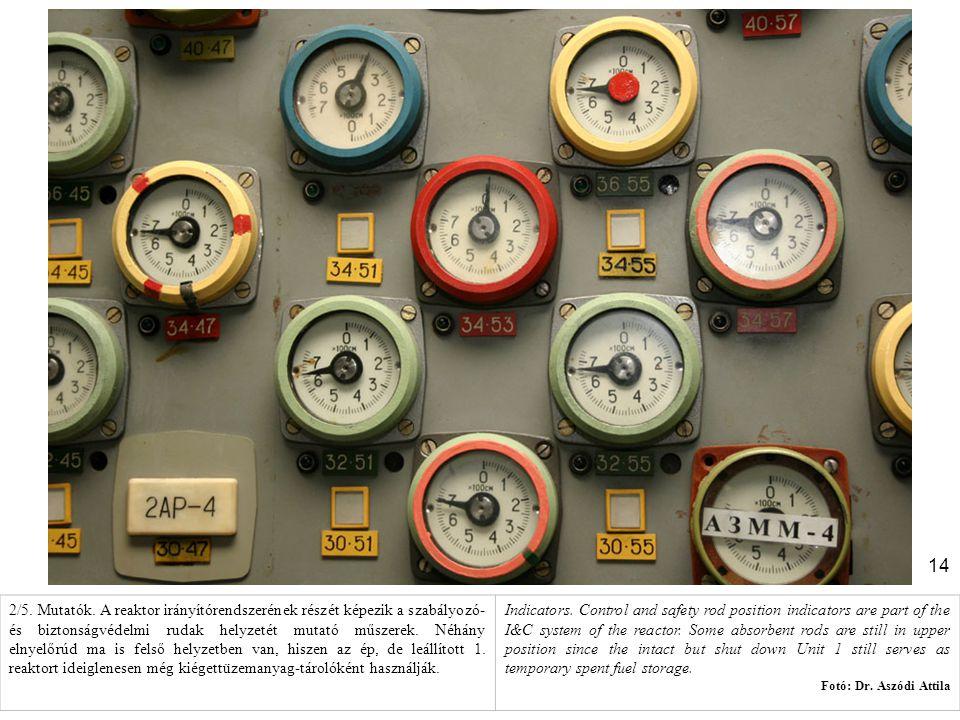 14 2/5. Mutatók. A reaktor irányítórendszerének részét képezik a szabályozó- és biztonságvédelmi rudak helyzetét mutató műszerek. Néhány elnyelőrúd ma
