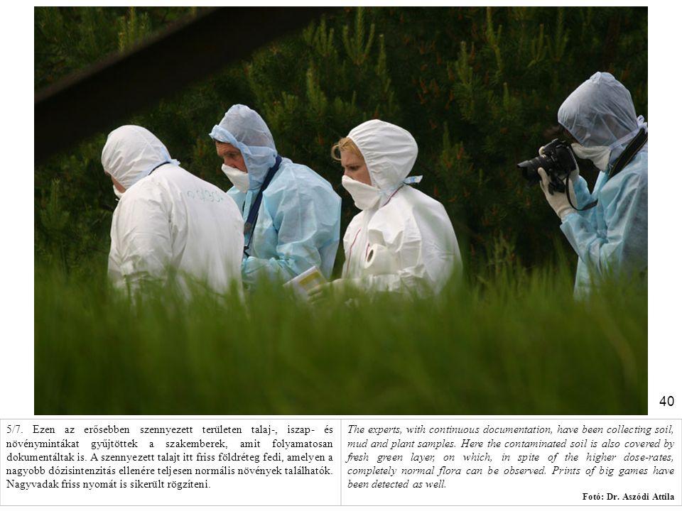 40 5/7. Ezen az erősebben szennyezett területen talaj-, iszap- és növénymintákat gyűjtöttek a szakemberek, amit folyamatosan dokumentáltak is. A szenn