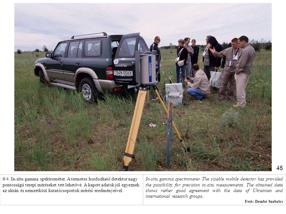 45 6/4. In-situ gamma spektrométer. A termetes hordozható detektor nagy pontosságú terepi méréseket tett lehetővé. A kapott adatok jól egyeznek az ukr