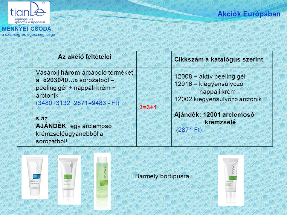 MENNYEI CSODA a szépség és egészség cége Akciók Európában Az akció feltételei Cikkszám a katalógus szerint Vásárolj három arcápoló terméket a «203040…» sorozatból – arc tonik + arckrém + éjszakai krém (2900+3741+3132=9773.- Ft) s az AJÁNDÉK: egy arclemosó krém ugyanebből a sorozatból.