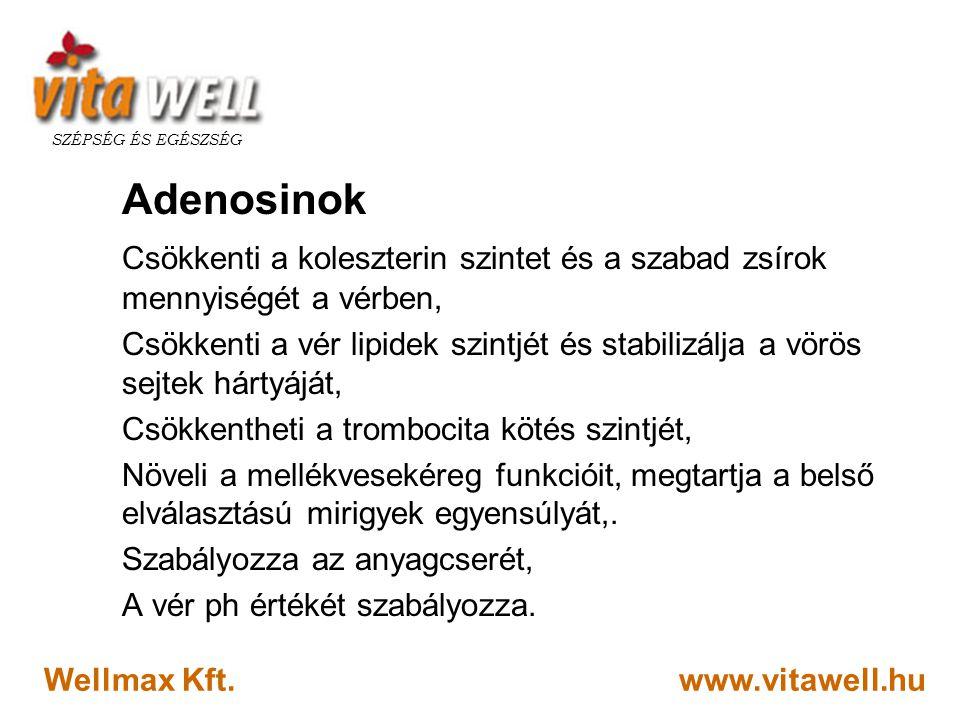 www.vitawell.hu SZÉPSÉG ÉS EGÉSZSÉG Wellmax Kft. Adenosinok Csökkenti a koleszterin szintet és a szabad zsírok mennyiségét a vérben, Csökkenti a vér l