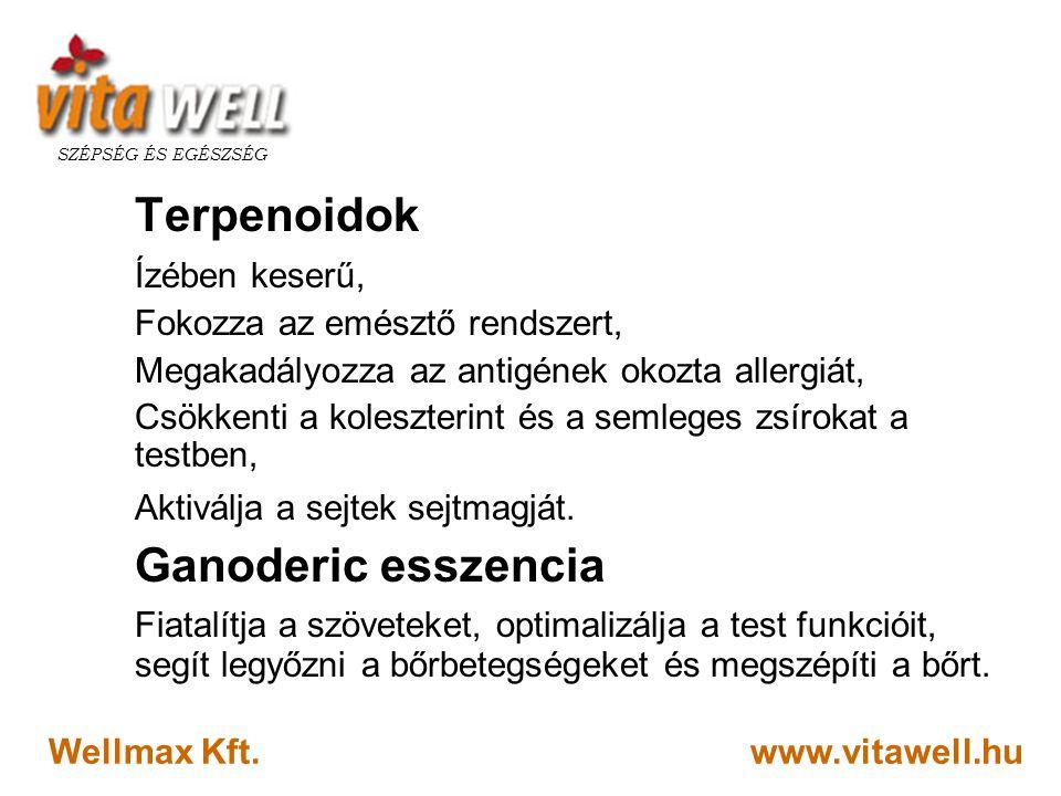 www.vitawell.hu SZÉPSÉG ÉS EGÉSZSÉG Wellmax Kft. Terpenoidok Ízében keserű, Fokozza az emésztő rendszert, Megakadályozza az antigének okozta allergiát