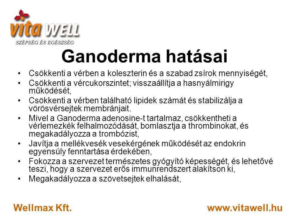 www.vitawell.hu SZÉPSÉG ÉS EGÉSZSÉG Wellmax Kft. Ganoderma hatásai •Csökkenti a vérben a koleszterin és a szabad zsírok mennyiségét, •Csökkenti a vérc