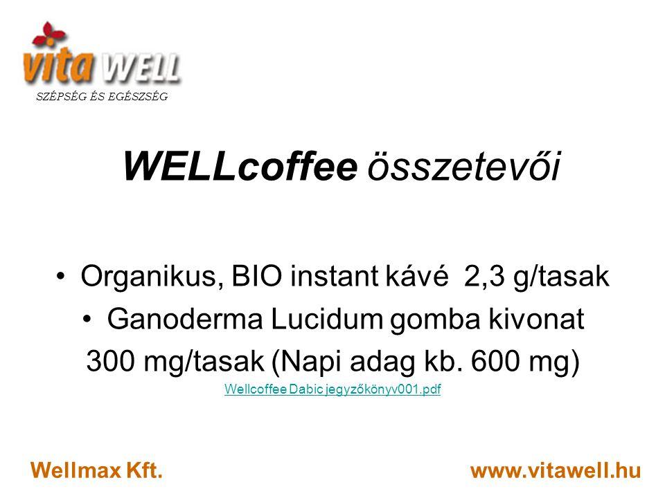 www.vitawell.hu SZÉPSÉG ÉS EGÉSZSÉG Wellmax Kft. WELLcoffee összetevői •Organikus, BIO instant kávé 2,3 g/tasak •Ganoderma Lucidum gomba kivonat 300 m