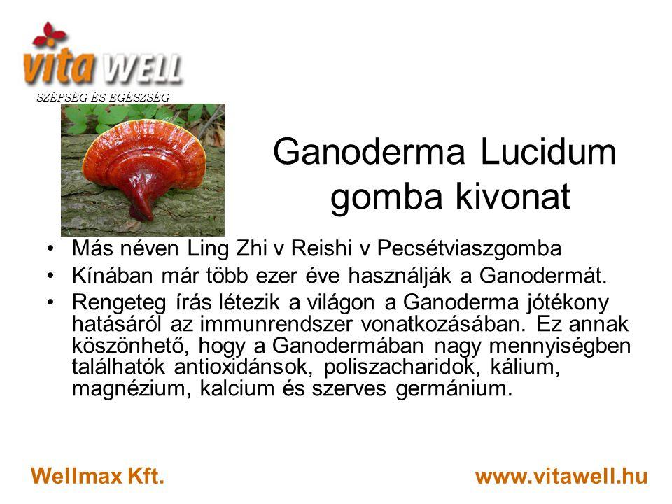 www.vitawell.hu SZÉPSÉG ÉS EGÉSZSÉG Wellmax Kft. Ganoderma Lucidum gomba kivonat •Más néven Ling Zhi v Reishi v Pecsétviaszgomba •Kínában már több eze
