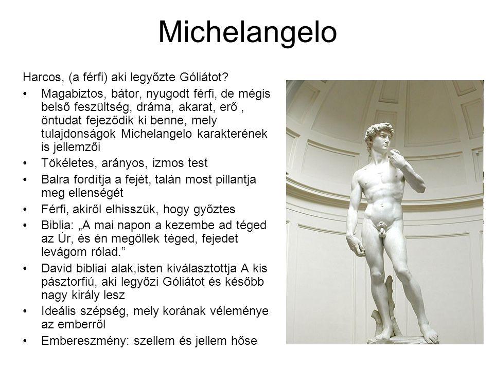 Michelangelo Harcos, (a férfi) aki legyőzte Góliátot? •Magabiztos, bátor, nyugodt férfi, de mégis belső feszültség, dráma, akarat, erő, öntudat fejező