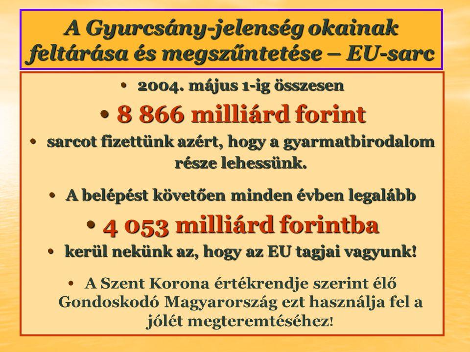 A Gyurcsány-jelenség okainak feltárása és megszűntetése – EU-sarc • 2004. május 1-ig összesen • 8 866 milliárd forint • sarcot fizettünk azért, hogy a