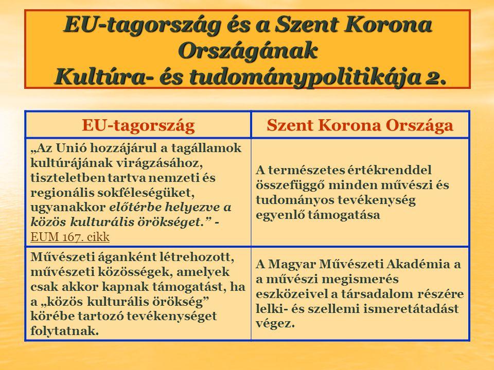 """EU-tagországSzent Korona Országa """"Az Unió hozzájárul a tagállamok kultúrájának virágzásához, tiszteletben tartva nemzeti és regionális sokféleségüket,"""