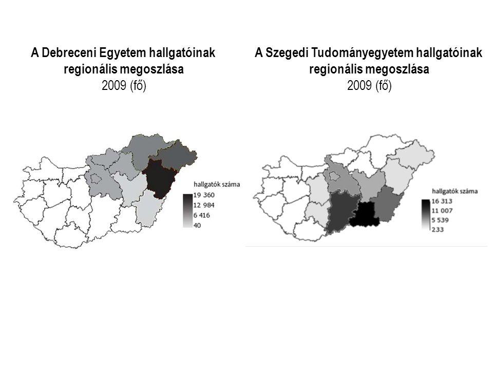 A Debreceni Egyetem hallgatóinak regionális megoszlása 2009 (fő) A Szegedi Tudományegyetem hallgatóinak regionális megoszlása 2009 (fő)