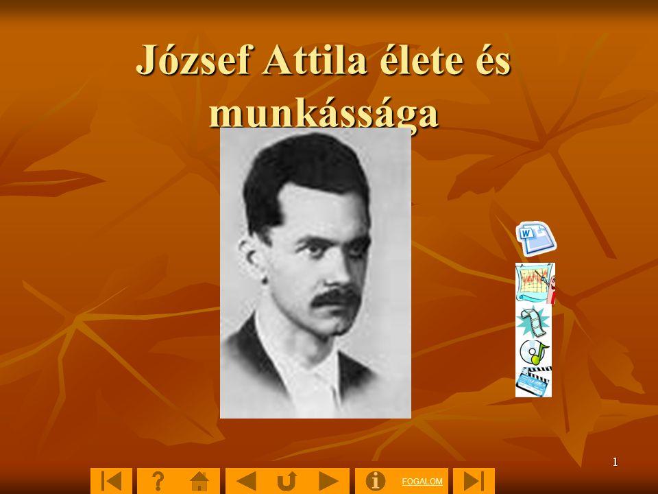 FOGALOM 2 2.Előszó József Attila a magyar költészet kiemelkedő alakja.