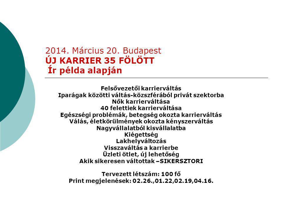 2014. Március 20. Budapest ÚJ KARRIER 35 FÖLÖTT Ír példa alapján Felsővezetői karrierváltás Iparágak közötti váltás-közszférából privát szektorba Nők