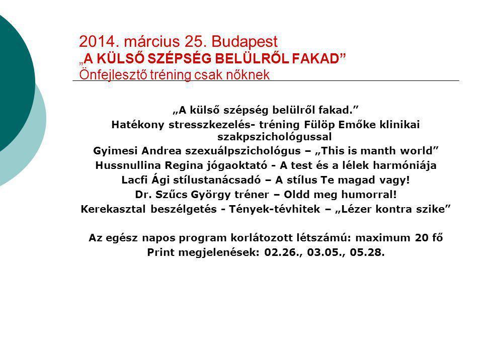 """2014. március 25. Budapest """"A KÜLSŐ SZÉPSÉG BELÜLRŐL FAKAD"""" Önfejlesztő tréning csak nőknek """"A külső szépség belülről fakad."""" Hatékony stresszkezelés-"""