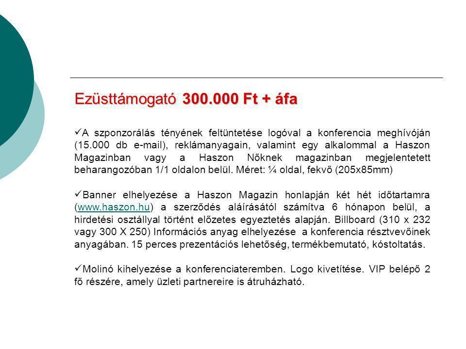 Ezüsttámogató300.000 Ft + áfa Ezüsttámogató 300.000 Ft + áfa  A szponzorálás tényének feltüntetése logóval a konferencia meghívóján (15.000 db e-mail