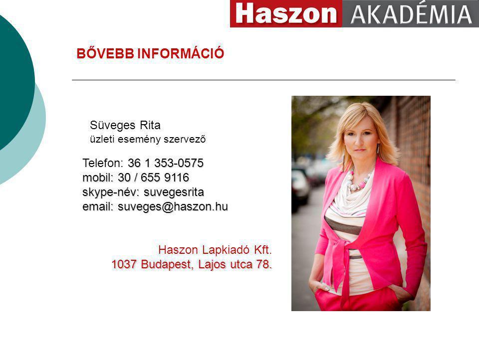 Süveges Rita üzleti esemény szervező 36 1 353-0575 Telefon: 36 1 353-0575 mobil: 30 / 655 9116 skype-név: suvegesrita email: suveges@haszon.hu Haszon Lapkiadó Kft.