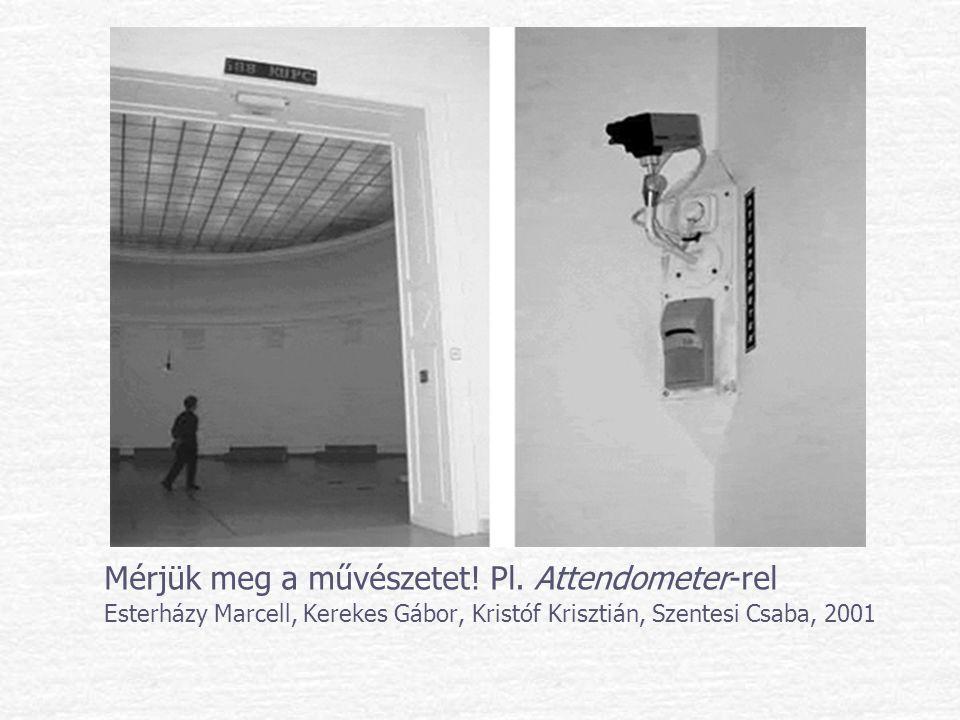 Mérjük meg a művészetet! Pl. Attendometer-rel Esterházy Marcell, Kerekes Gábor, Kristóf Krisztián, Szentesi Csaba, 2001