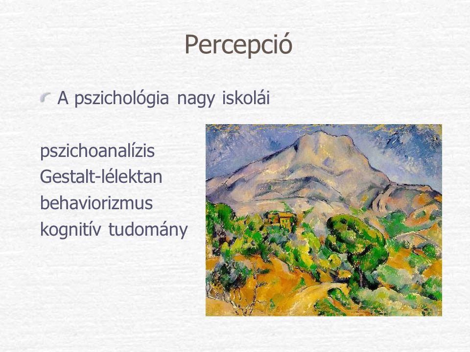 Percepció A pszichológia nagy iskolái pszichoanalízis Gestalt-lélektan behaviorizmus kognitív tudomány