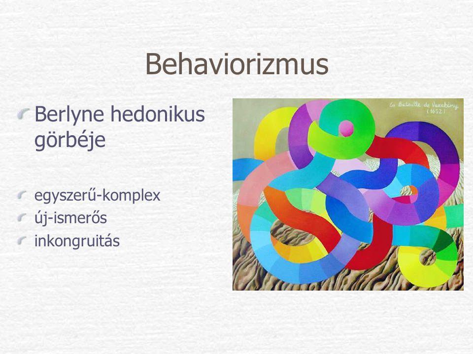 Behaviorizmus Berlyne hedonikus görbéje egyszerű-komplex új-ismerős inkongruitás