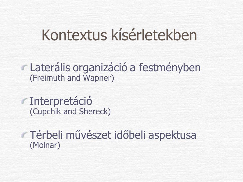 Kontextus kísérletekben Laterális organizáció a festményben (Freimuth and Wapner) Interpretáció (Cupchik and Shereck) Térbeli művészet időbeli aspektu