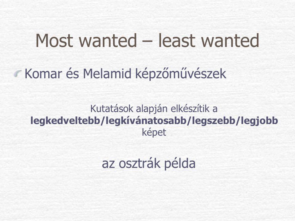 Most wanted – least wanted Komar és Melamid képzőművészek Kutatások alapján elkészítik a legkedveltebb/legkívánatosabb/legszebb/legjobb képet az osztr