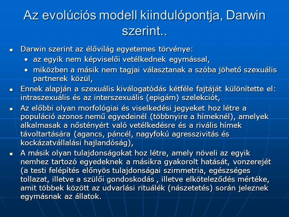 Az evolúciós modell kiindulópontja, Darwin szerint..  Darwin szerint az élővilág egyetemes törvénye: •az egyik nem képviselői vetélkednek egymással,