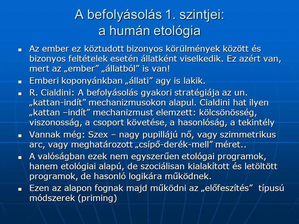 A befolyásolás 1. szintjei: a humán etológia  Az ember ez köztudott bizonyos körülmények között és bizonyos feltételek esetén állatként viselkedik. E