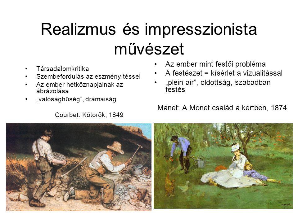 """Realizmus és impresszionista művészet •Társadalomkritika •Szembefordulás az eszményítéssel •Az ember hétköznapjainak az ábrázolása •""""valósághűség , drámaiság Courbet: Kőtörők, 1849 •Az ember mint festői probléma •A festészet = kísérlet a vizualitással •""""plein air , oldottság, szabadban festés Manet: A Monet család a kertben, 1874"""