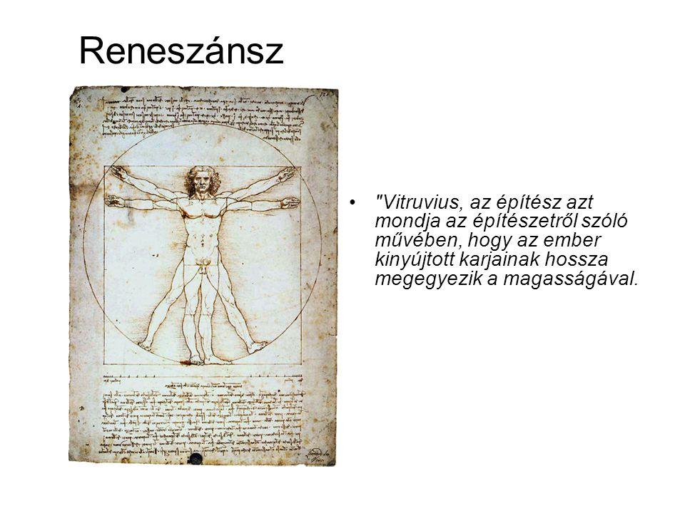 Reneszánsz • Vitruvius, az építész azt mondja az építészetről szóló művében, hogy az ember kinyújtott karjainak hossza megegyezik a magasságával.