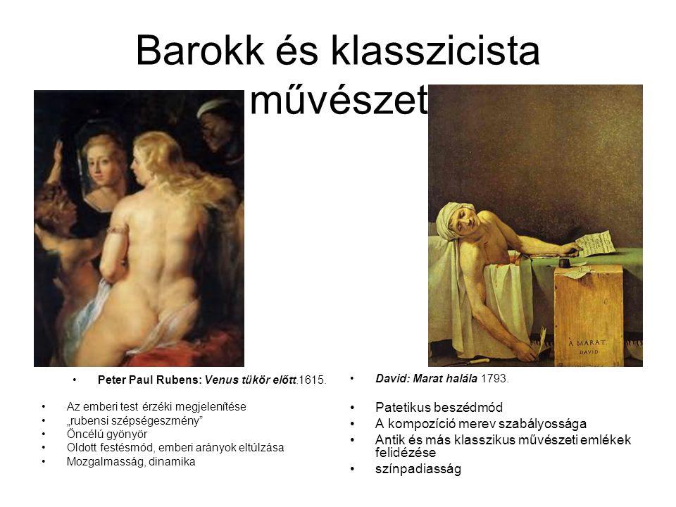 """Barokk és klasszicista művészet •Peter Paul Rubens: Venus tükör előtt.1615. •Az emberi test érzéki megjelenítése •""""rubensi szépségeszmény"""" •Öncélú gyö"""