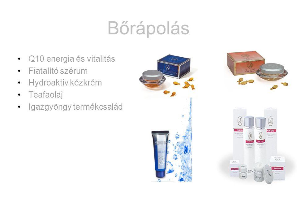 Bőrápolás •Q10 energia és vitalitás •Fiatalító szérum •Hydroaktiv kézkrém •Teafaolaj •Igazgyöngy termékcsalád