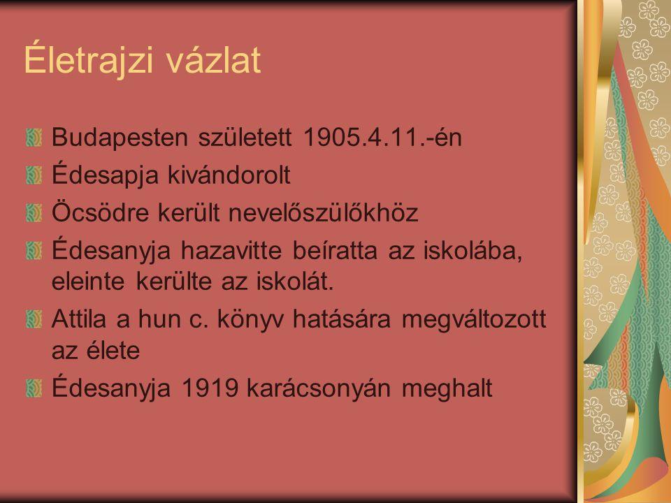 Életrajzi vázlat Budapesten született 1905.4.11.-én Édesapja kivándorolt Öcsödre került nevelőszülőkhöz Édesanyja hazavitte beíratta az iskolába, elei