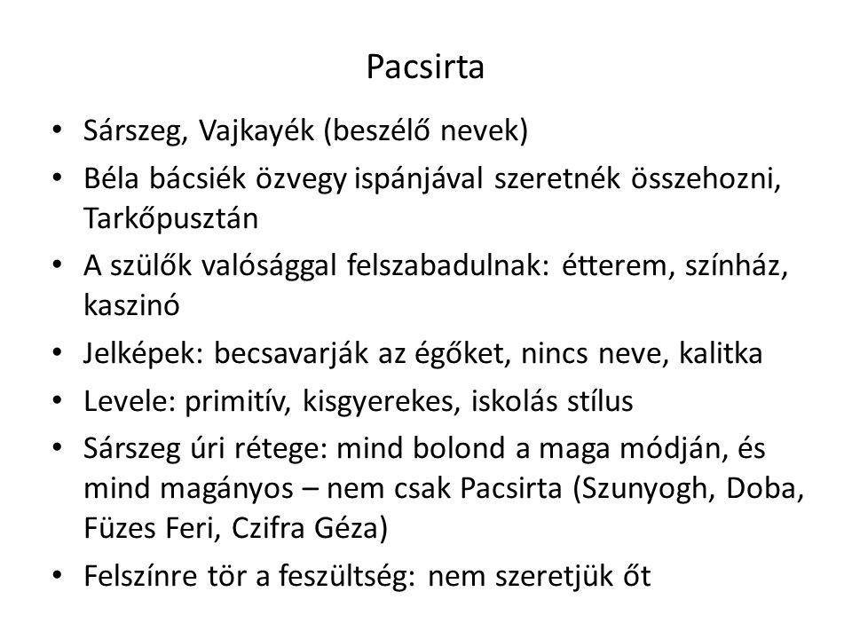 Pacsirta • Sárszeg, Vajkayék (beszélő nevek) • Béla bácsiék özvegy ispánjával szeretnék összehozni, Tarkőpusztán • A szülők valósággal felszabadulnak:
