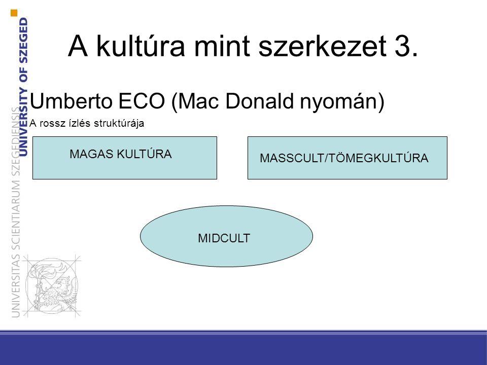 A kultúra mint szerkezet 3. Umberto ECO (Mac Donald nyomán) A rossz ízlés struktúrája MAGAS KULTÚRA MASSCULT/TÖMEGKULTÚRA MIDCULT