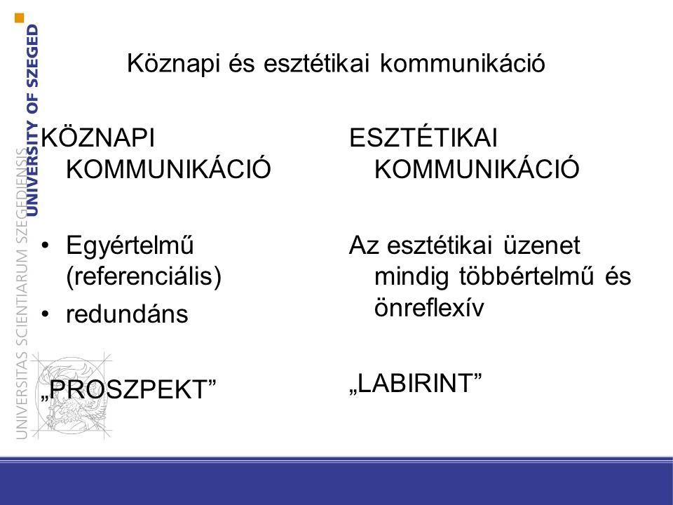"""Köznapi és esztétikai kommunikáció KÖZNAPI KOMMUNIKÁCIÓ •Egyértelmű (referenciális) •redundáns """"PROSZPEKT"""" ESZTÉTIKAI KOMMUNIKÁCIÓ Az esztétikai üzene"""
