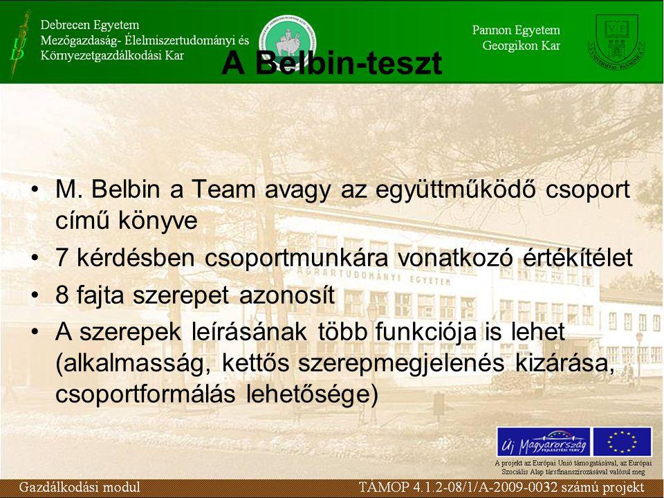A Belbin-teszt •M.