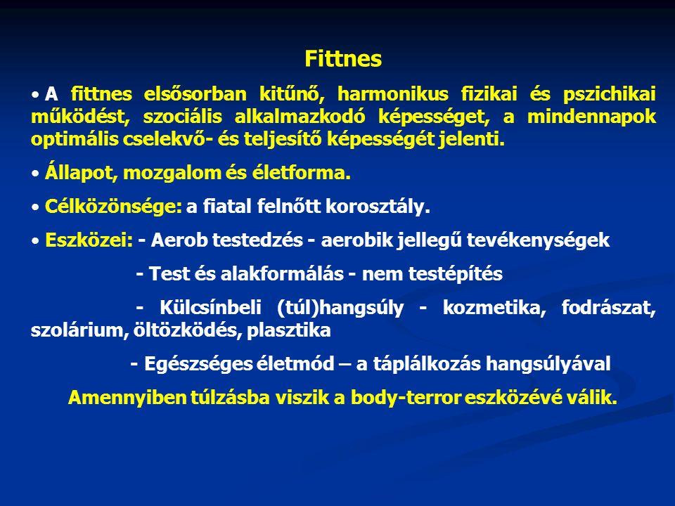 Fittnes • A fittnes elsősorban kitűnő, harmonikus fizikai és pszichikai működést, szociális alkalmazkodó képességet, a mindennapok optimális cselekvő-