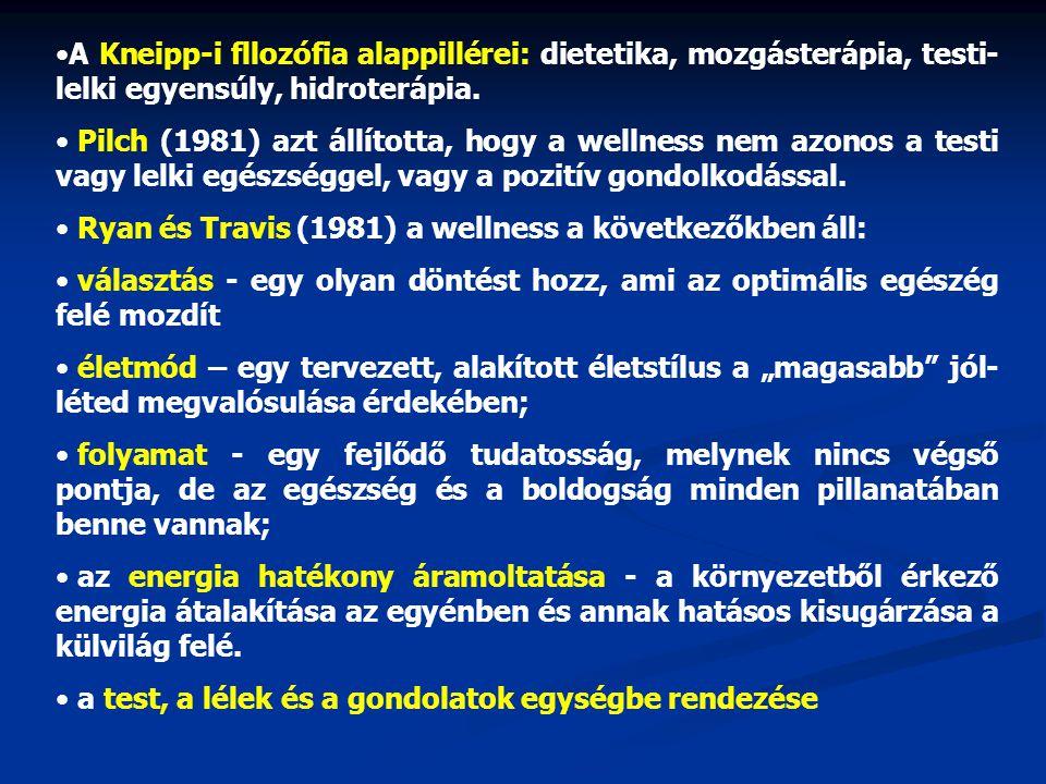 •A Kneipp-i fllozófia alappillérei: dietetika, mozgásterápia, testi- lelki egyensúly, hidroterápia. • Pilch (1981) azt állította, hogy a wellness nem