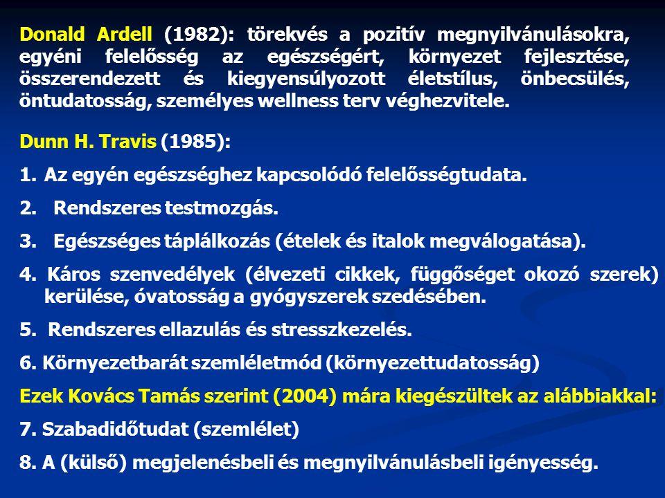 Donald Ardell (1982): törekvés a pozitív megnyilvánulásokra, egyéni felelősség az egészségért, környezet fejlesztése, összerendezett és kiegyensúlyozo