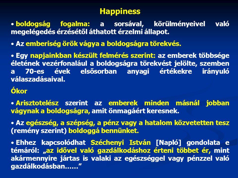 Happiness • boldogság fogalma: a sorsával, körülményeivel való megelégedés érzésétől áthatott érzelmi állapot. • Az emberiség örök vágya a boldogságra