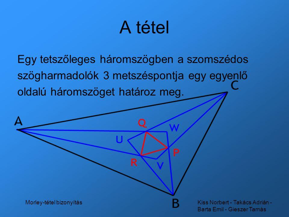 Kiss Norbert - Takács Adrián - Barta Emil - Gieszer Tamás Morley-tétel bizonyítás A tétel Egy tetszőleges háromszögben a szomszédos szögharmadolók 3 m