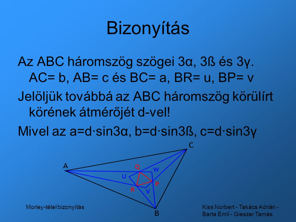 Kiss Norbert - Takács Adrián - Barta Emil - Gieszer Tamás Morley-tétel bizonyítás Bizonyítás Alkalmazva a sinus-tételt a BPC háromszögre: Átalakítás: 3α+3ß+3γ=180°, α+ß+γ=60°, ß+γ=60°-α