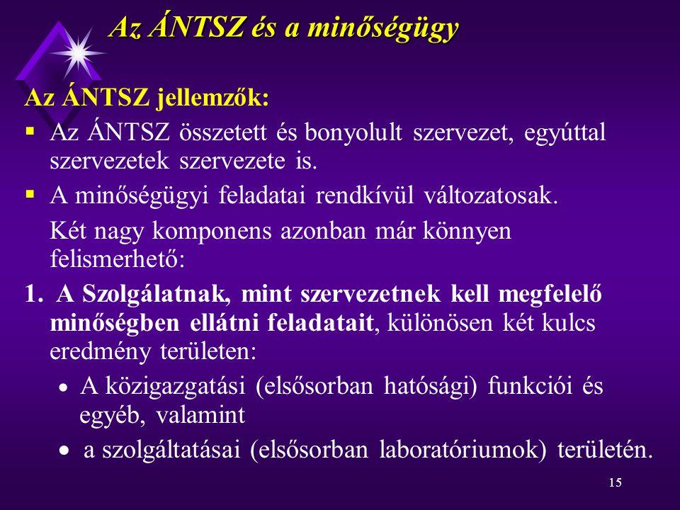 15 Az ÁNTSZ és a minőségügy Az ÁNTSZ jellemzők:  Az ÁNTSZ összetett és bonyolult szervezet, egyúttal szervezetek szervezete is.