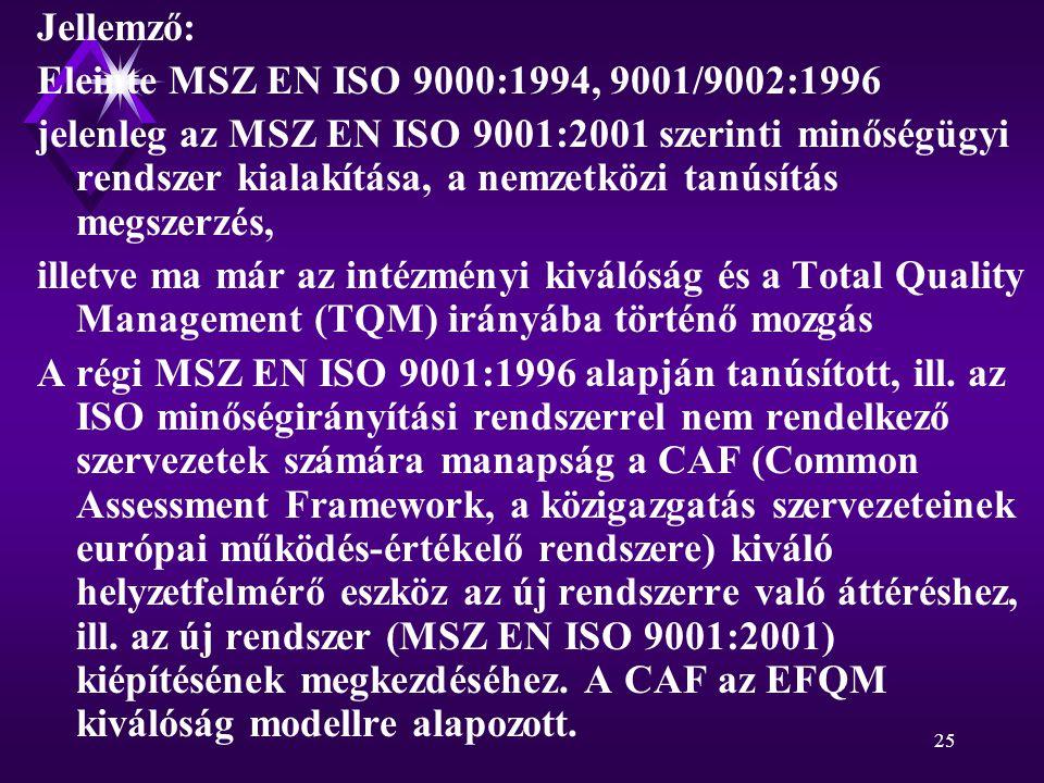 25 Jellemző: Eleinte MSZ EN ISO 9000:1994, 9001/9002:1996 jelenleg az MSZ EN ISO 9001:2001 szerinti minőségügyi rendszer kialakítása, a nemzetközi tanúsítás megszerzés, illetve ma már az intézményi kiválóság és a Total Quality Management (TQM) irányába történő mozgás A régi MSZ EN ISO 9001:1996 alapján tanúsított, ill.