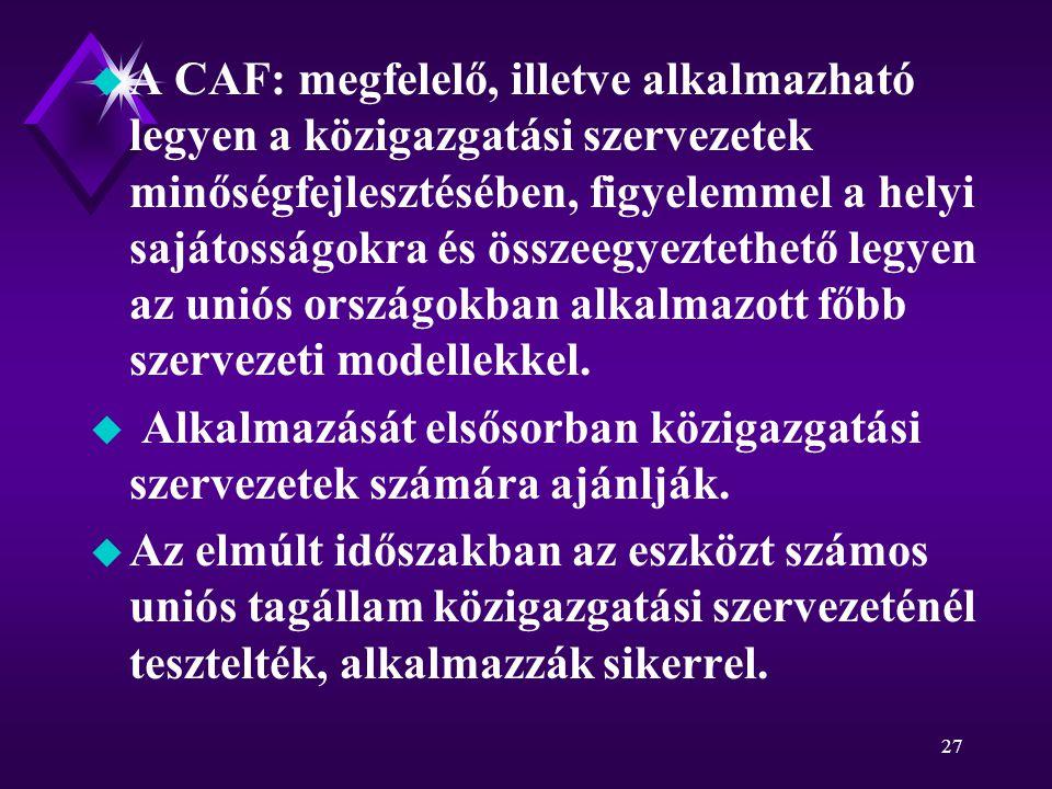 27 u A CAF: megfelelő, illetve alkalmazható legyen a közigazgatási szervezetek minőségfejlesztésében, figyelemmel a helyi sajátosságokra és összeegyeztethető legyen az uniós országokban alkalmazott főbb szervezeti modellekkel.