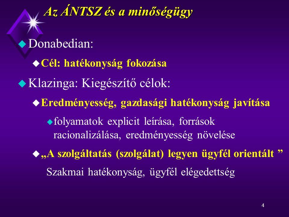 """4 Az ÁNTSZ és a minőségügy u Donabedian: u Cél: hatékonyság fokozása u Klazinga: Kiegészítő célok: u Eredményesség, gazdasági hatékonyság javítása u folyamatok explicit leírása, források racionalizálása, eredményesség növelése u """"A szolgáltatás (szolgálat) legyen ügyfél orientált Szakmai hatékonyság, ügyfél elégedettség"""